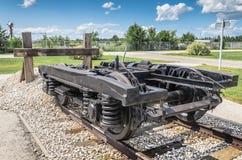 Sistema del carrello ferroviario di un vagone all'estremità della linea Fotografia Stock