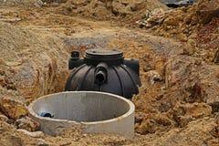 Sistema del carro armato settico per l'abitazione e la costruzione piccola immagine stock