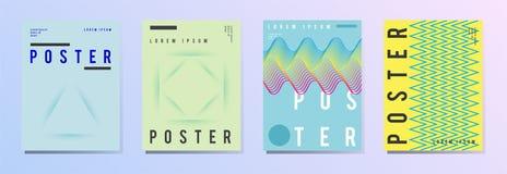 Sistema del cartel moderno, aviador, folleto en estilo geométrico colorido con los elementos abstractos Disposición de diseño de  libre illustration