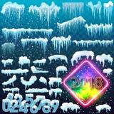 Sistema del casquillo de la nieve Elementos Nevado en fondo del invierno Vector la plantilla en el estilo de la historieta para s Imagen de archivo
