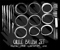 Sistema del cepillo del círculo de la colección del dibujo del garabato del vector en vagos negros Imagen de archivo libre de regalías