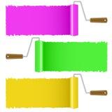 Sistema del cepillo colorido del rodillo de pintura ilustración del vector