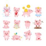 sistema del cerdo rosado lindo ilustración del vector