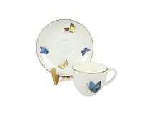 Sistema del chino de tazas de té en el fondo blanco Foto de archivo