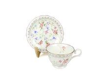 Sistema del chino de tazas de té en el fondo blanco Foto de archivo libre de regalías