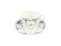 Sistema del chino de tazas de té en el fondo blanco Imagenes de archivo