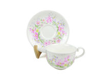 Sistema del chino de tazas de té en el fondo blanco Imagen de archivo