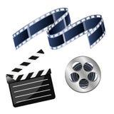 Sistema del cine de los ejemplos del vector que consiste en la bobina con la película, stock de ilustración