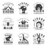 Sistema del circo de emblemas, de etiquetas, de insignias y de logotipos del vintage del vector en estilo monocromático en el fon Foto de archivo libre de regalías