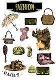 Sistema del clip art de la moda del vintage ilustración del vector