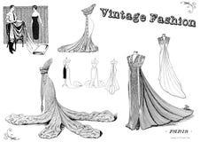 Sistema del clip art de la moda del vintage stock de ilustración