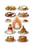 Sistema del clip art de las tortas de la comida del vintage ilustración del vector