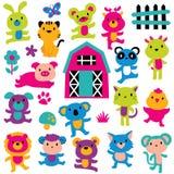 Sistema del clip art de los animales de la alegría Imagen de archivo libre de regalías