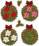 Sistema del clip art del muérdago de la Navidad decorativo Foto de archivo libre de regalías