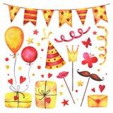 Sistema del clip art del partido del feliz cumpleaños de la acuarela stock de ilustración