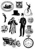 Sistema del clip art del steampunk del vintage ilustración del vector