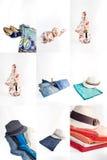 Sistema del collage de diversos ropa y accesorios para las mujeres Fotografía de archivo