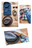 Sistema del collage de diversos ropa y accesorios para los hombres Fotografía de archivo libre de regalías