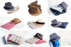 Sistema del collage de diversos ropa y accesorios para los hombres aislados Imágenes de archivo libres de regalías