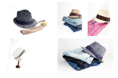 Sistema del collage de diversos ropa y accesorios para los hombres aislados Foto de archivo