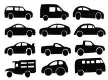 Sistema del collage de la silueta del coche Imagenes de archivo