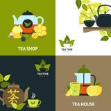Sistema del concepto de diseño del té Imágenes de archivo libres de regalías