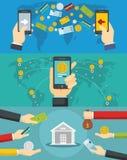 Sistema del concepto de la bandera de la transacción del dinero, estilo plano libre illustration