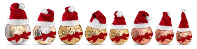 Sistema del concepto de la moneda del euro y del centavo de la prima de la Navidad Imagen de archivo libre de regalías