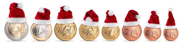 Sistema del concepto de la moneda del euro y del centavo de la prima de la Navidad Fotografía de archivo libre de regalías