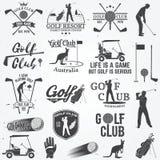 Sistema del concepto del club de golf con la silueta del golfista stock de ilustración