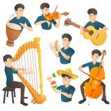 Sistema del concepto del músico, estilo de la historieta stock de ilustración