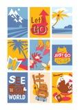 Sistema del concepto que viaja del ejemplo del vector de las banderas Vea el mundo Apenas vaya Deje s ir Playas soleadas con las  stock de ilustración
