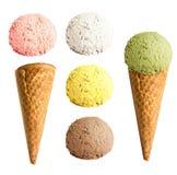 Sistema del cono de helado aislado Imagenes de archivo