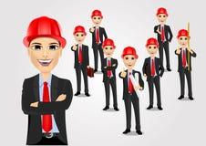 Sistema del constructor del trabajador del ingeniero de construcción Imagen de archivo libre de regalías