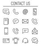 Sistema del contacto nosotros iconos en la línea estilo fina moderna stock de ilustración