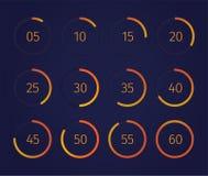 Sistema del contador de tiempo del reloj de Digitaces ilustración del vector