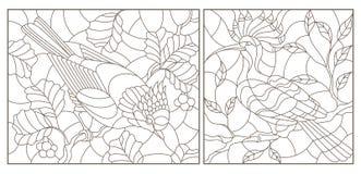 Sistema del contorno con los ejemplos de vitrales con los pájaros contra ramas de un árbol y las hojas, contornos oscuros en un w ilustración del vector