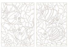 Sistema del contorno de ejemplos del vitral con los pescados del acuario, los pescados de la mariposa y los ídolos moros Imagenes de archivo