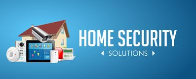 Sistema del controllo di accesso - zone dell'allarme - concetto di sistema di sicurezza - insegna del sito Web illustrazione di stock
