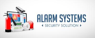 Sistema del controllo di accesso - zone dell'allarme - concetto di sistema di sicurezza - insegna del sito Web royalty illustrazione gratis