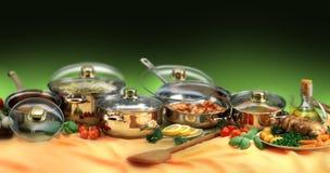 sistema del cookware Fotografía de archivo