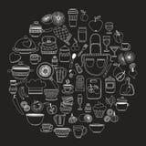 Sistema del cookware dibujado mano Fotografía de archivo libre de regalías