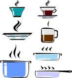 Sistema del cookware dibujado mano, color, vector Tazas de té y de café, placa, potes, sartén Fotos de archivo