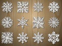 Sistema del copo de nieve del papel de la Navidad del vector Fotografía de archivo