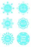 Sistema del copo de nieve festivo de las etiquetas engomadas Stock de ilustración