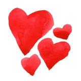 Sistema del corazón de la acuarela Fotos de archivo libres de regalías