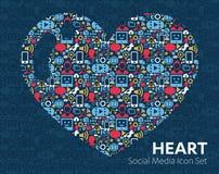 Sistema del corazón del vector de medios iconos sociales Imagen de archivo libre de regalías