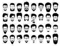 Sistema del corte de pelo del estilo del inconformista, vidrios del vector Imagen de archivo libre de regalías
