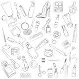 Sistema del cosmético stock de ilustración