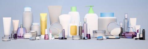 Sistema del cosmético decorativo Panorama de la belleza imágenes de archivo libres de regalías